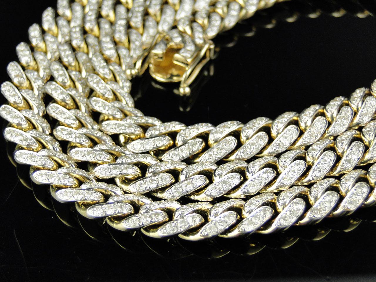 Mens 24 5 Ct 10k Yellow Gold Miami Cuban Link Diamond