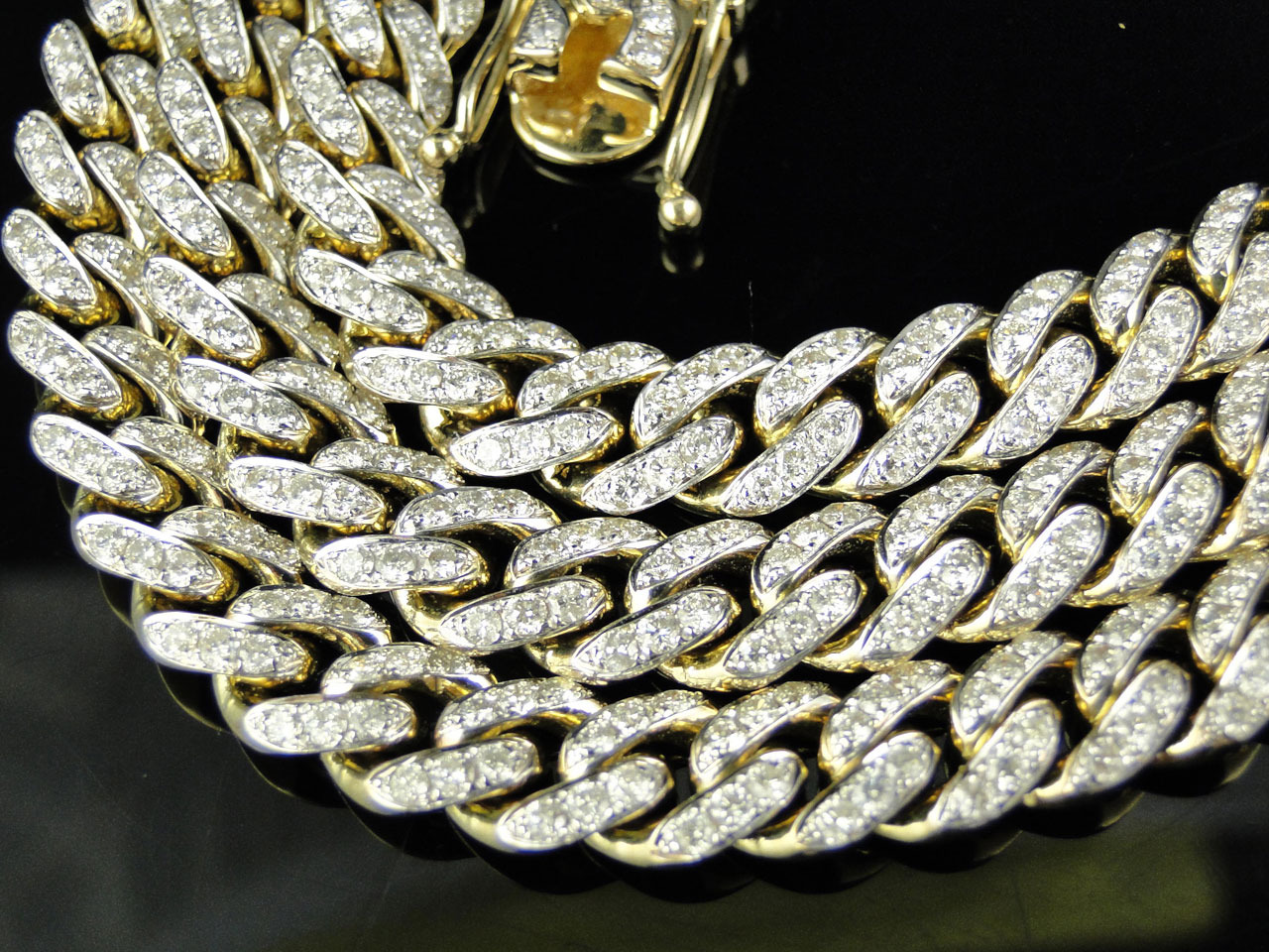 Mens 24 5 Ct 10k Yellow Gold Miami Cuban Link Diamond
