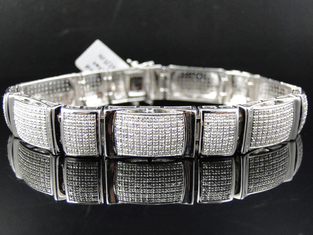 Mens Pave 12 Mm White Gold Finish Round Cut Genuine Diamond Bracelet 3 Ct