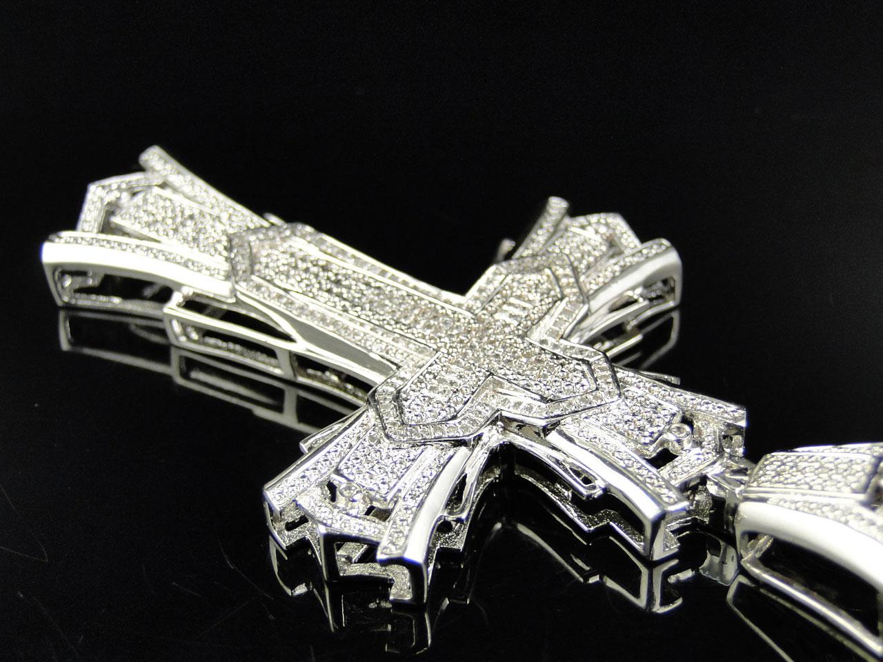 Mens Large Genuine 3 Inch Real Diamond Cross Pendant Charm