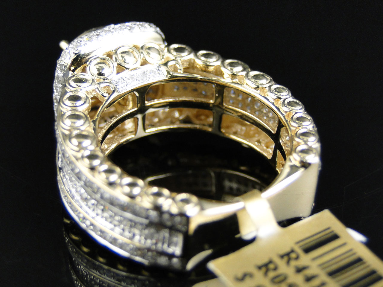 10k Yellow Gold Eternity Style Pave Diamond Engagement