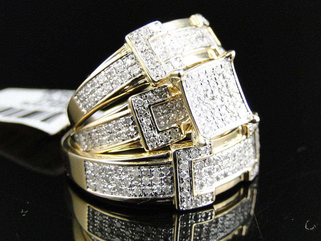 14k Yellow Gold Round Cut Diamond Engagement Bridal Wedding Ring Trio Set  124 C