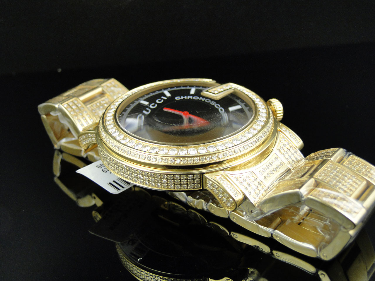 new custom mens 101 g gold pvd real 44 mm diamond gucci ya101334 new custom mens 101 g gold pvd real 44 mm diamond gucci ya101334 watch 8 85 ct