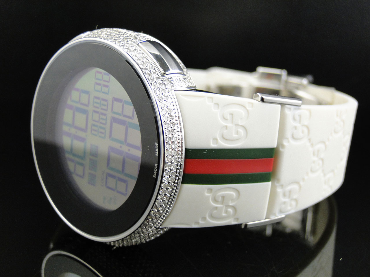 Custom Brand New Mens I Gucci Digital White Full Diamond