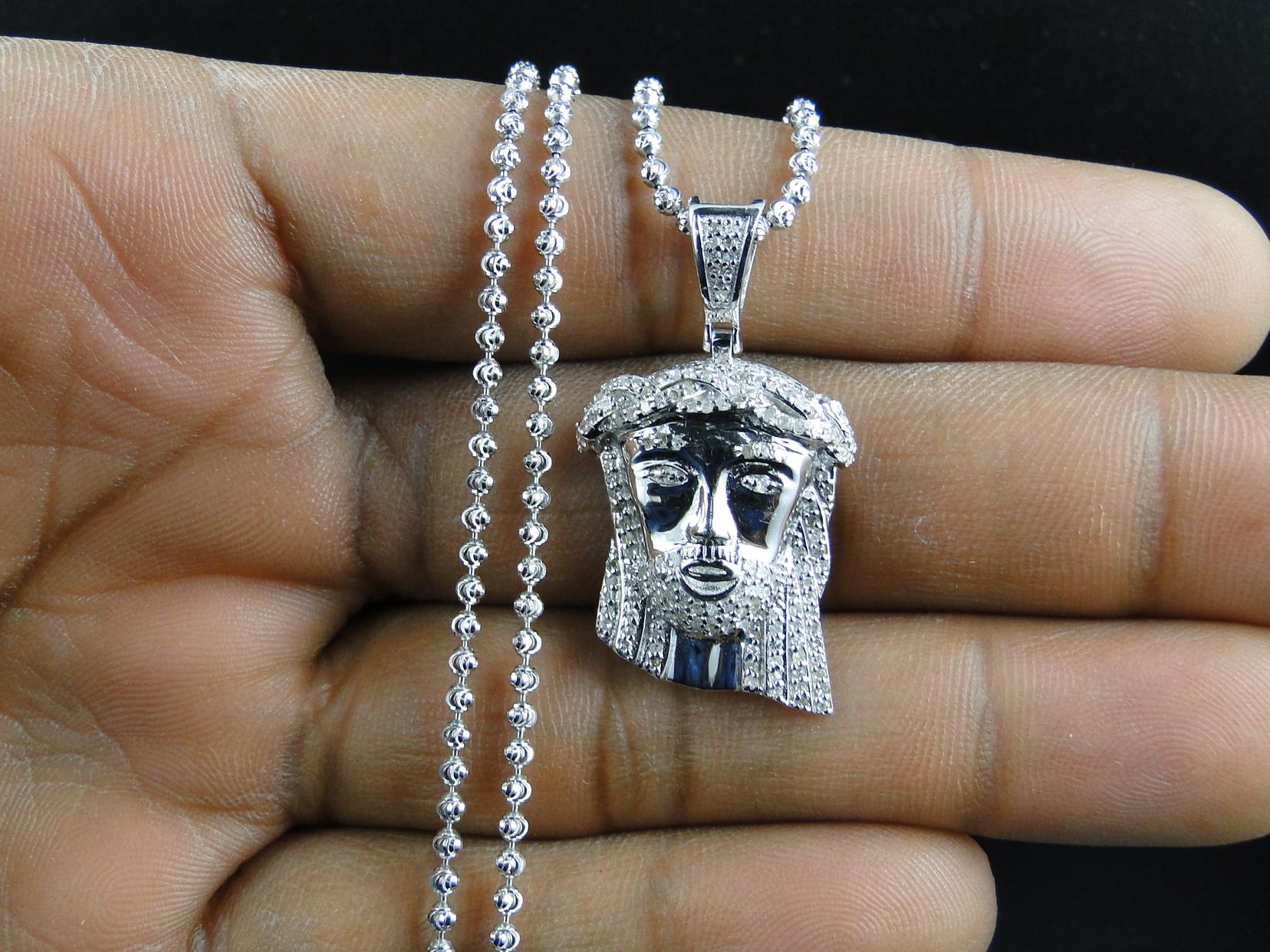 Sterling silver jesus piece real diamond pendant and chain in white sterling silver jesus piece real diamond pendant and chain in white gold finish 686907157377 ebay aloadofball Image collections