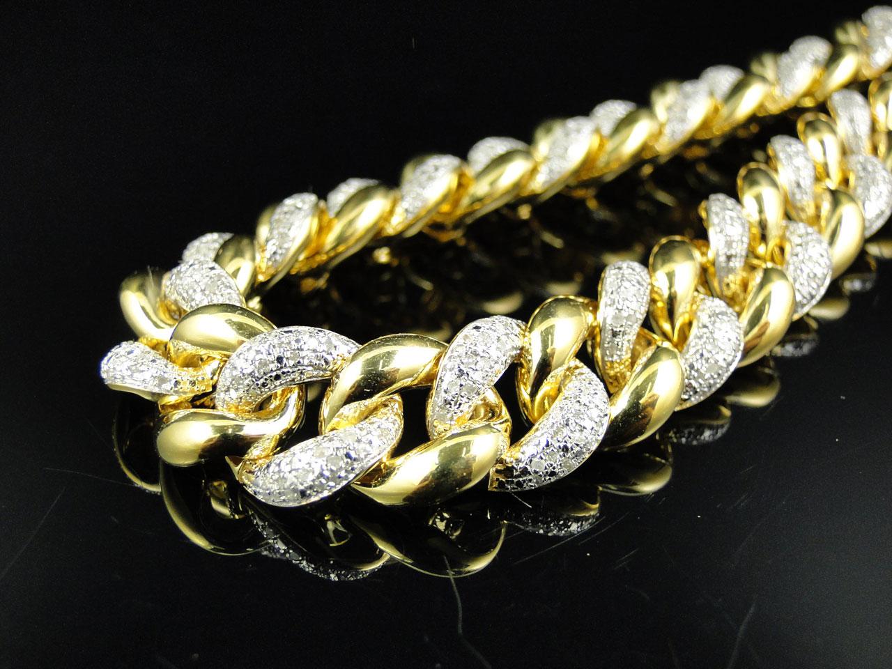 Mens Yellow Gold FInish Miami Cuban Link 11 MM Real Diamond Chain Necklace  8 ct 97e6f5e5a