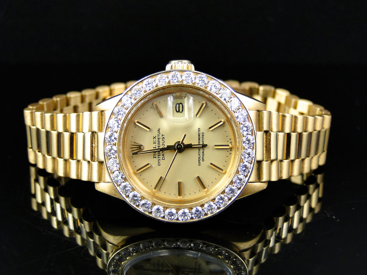 pre owned ladies 27 mm rolex president day date 18k yellow