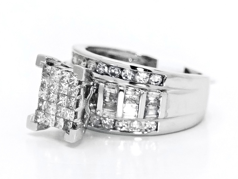cut cinderella engagement white diamond ring rings ladies gold baguette princess wedding real rng