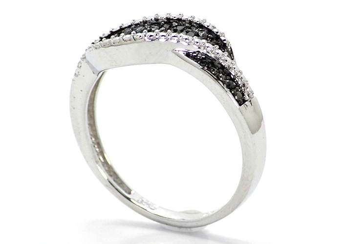 Ladies White Gold Finish Pave Set Real Black Diamond Fashion Designer Band Ring