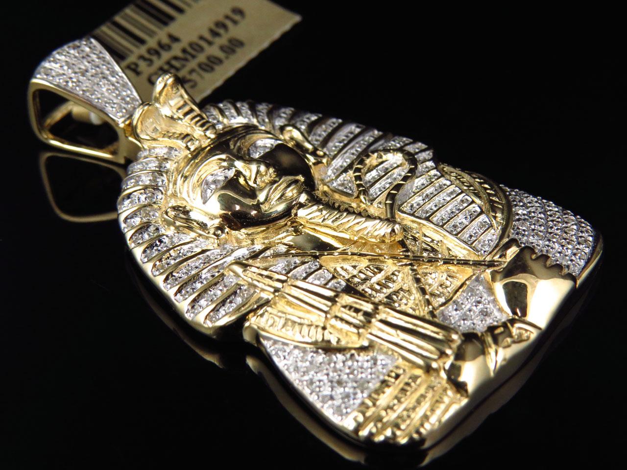 23 ct egyptian pharaoh king tut real diamond 25 pendant 10k item specifics aloadofball Gallery