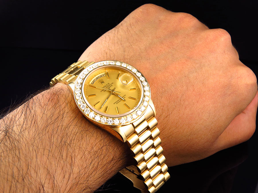 18k yellow gold mens 36 mm rolex president day date 18038 diamond bezel watch 686907199957 ebay for Rolex day date 36