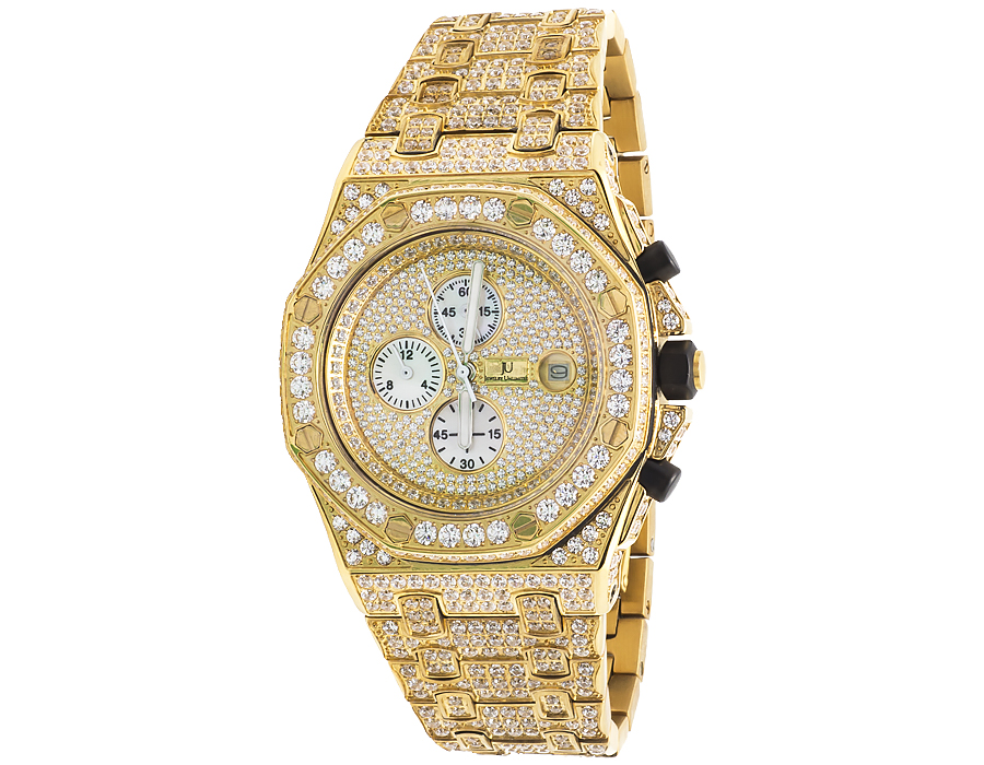 mens jewelry unlimited yellow gold steel simulated diamond watch mens jewelry unlimited yellow gold steel simulated diamond watch 43mm ap style