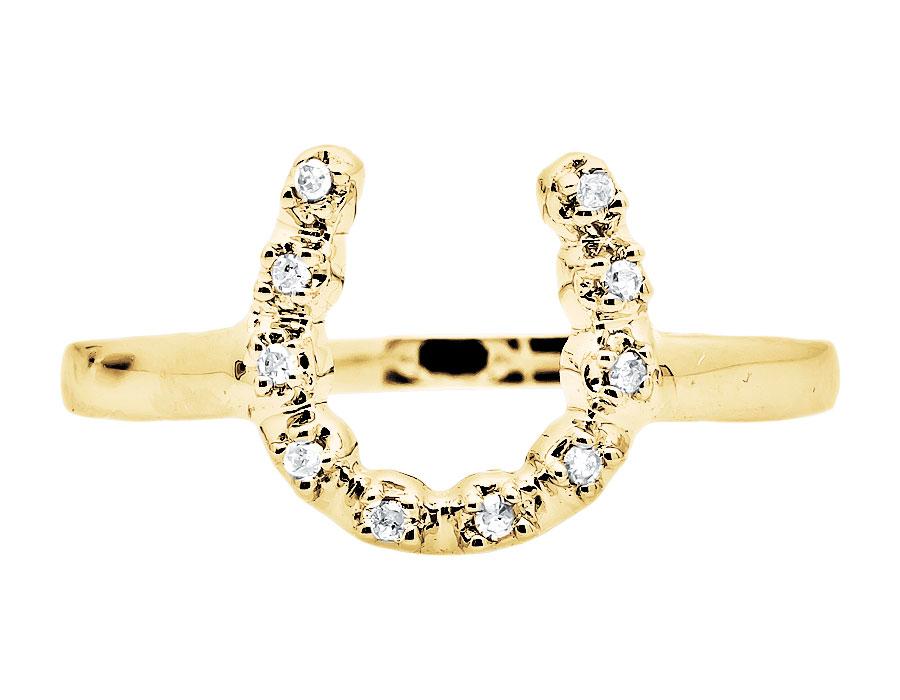 diamond .05 carat lucky horseshoe 10K Gold Ring ladies love money success fame