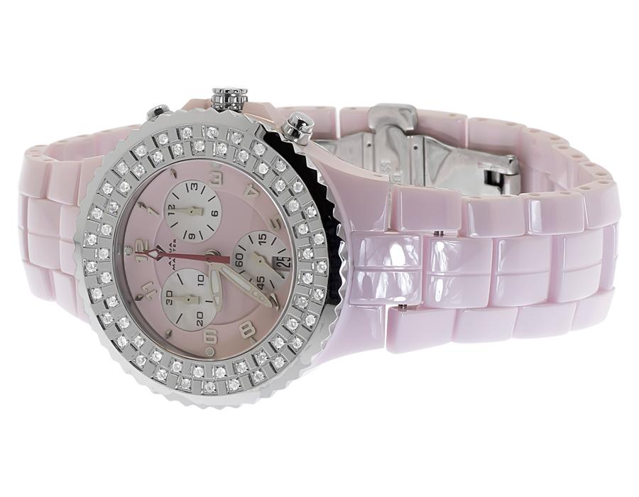58555a90c Ladies Aqua Master Genuine Diamond 40mm Pink Ceramic W#115 Watch 1.25 ct