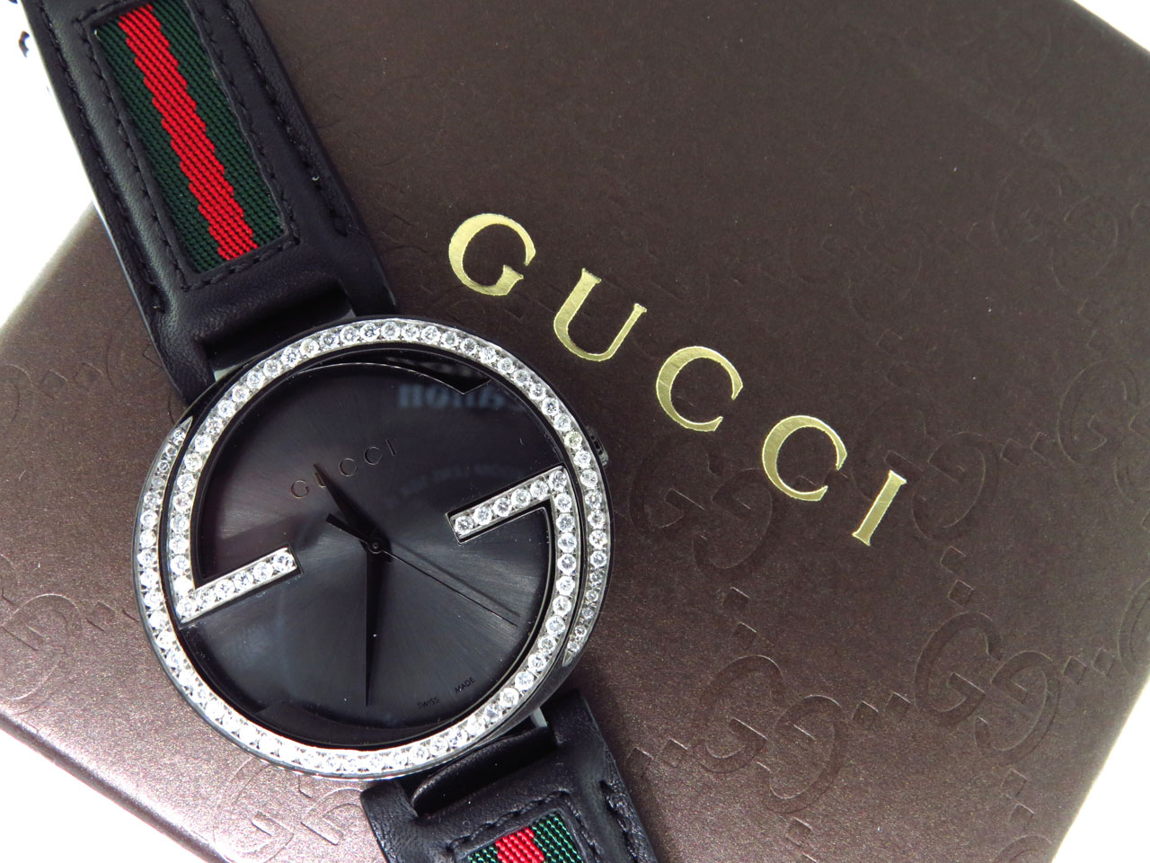 18025cb285f Mens Gucci Black PVD 42 MM XL Interlocking GG Diamond Watch 2.0ct YA133206
