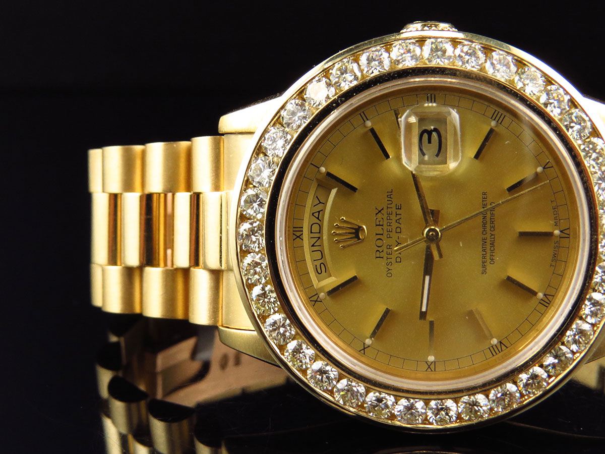 Mens 36 mm rolex day date presidential 18038 18k yellow gold diamond watch 6 ct ebay for Rolex day date 36