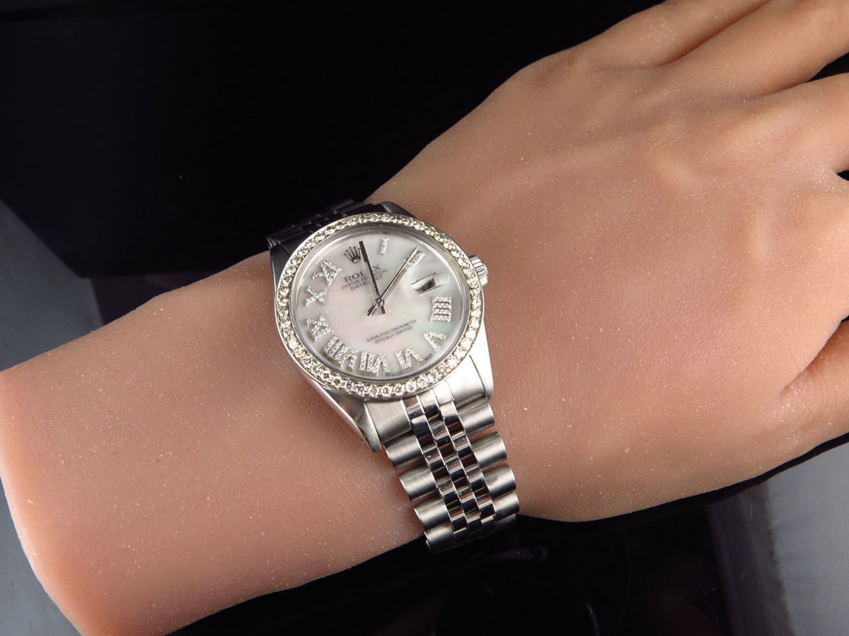 Mens stainless steel rolex datejust jubilee 36 mm white mop roman number dial ebay for Rolex date just 36