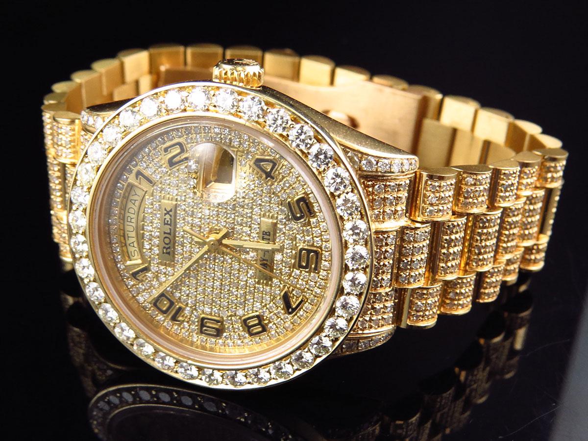 18k mens full diamond yellow gold rolex presidental day