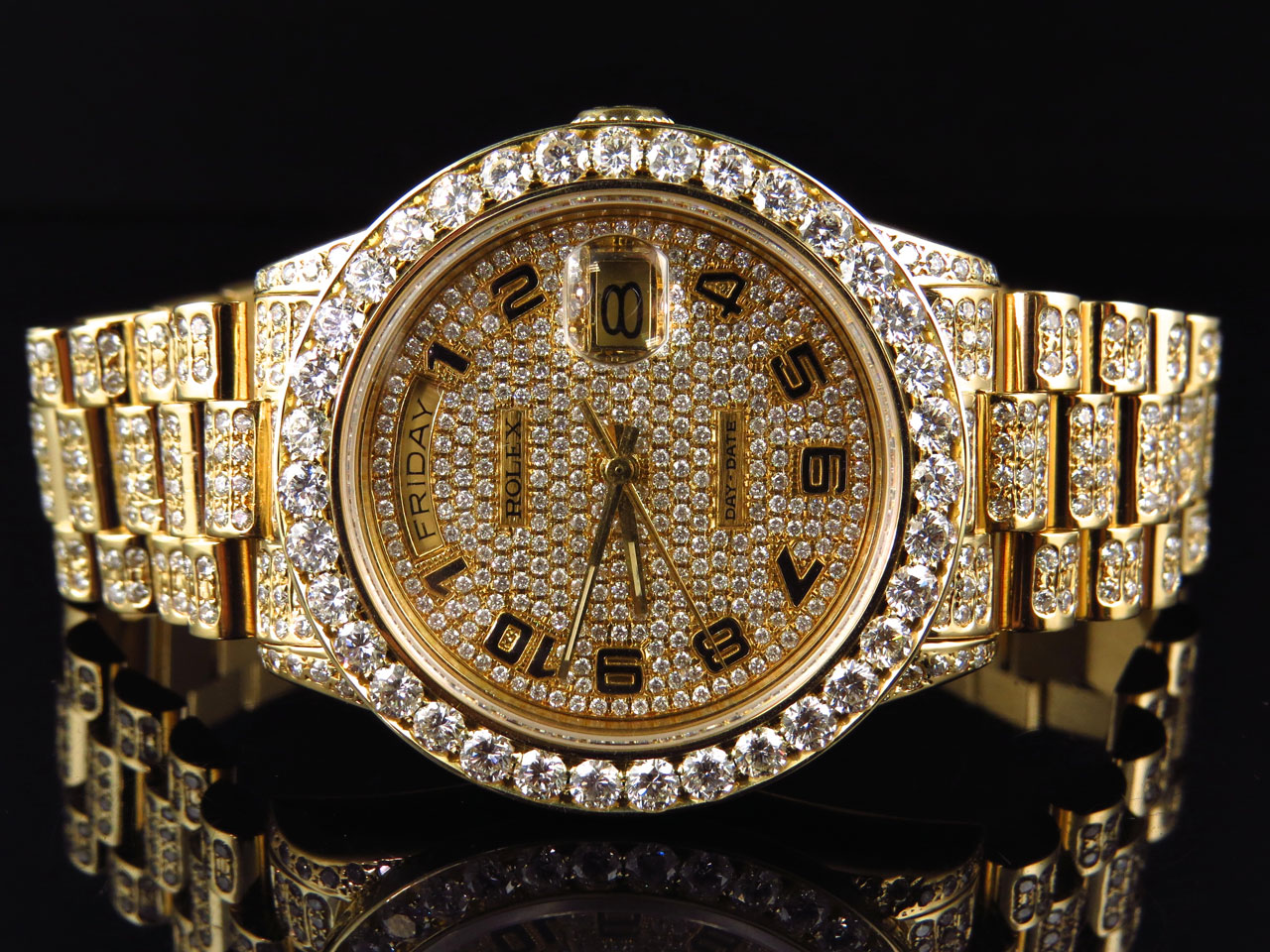 18k Yellow Gold Mens Rolex Presidential Day-Date Diamond ...