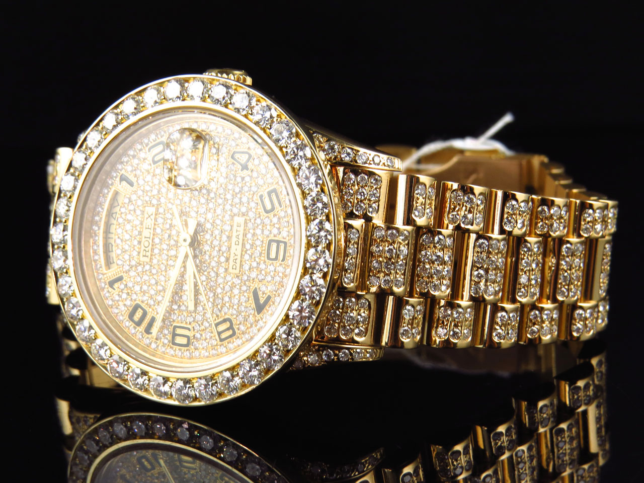 18k yellow gold mens rolex presidential day date diamond bezel 18k yellow gold mens rolex presidential day date diamond bezel watch 19 ct