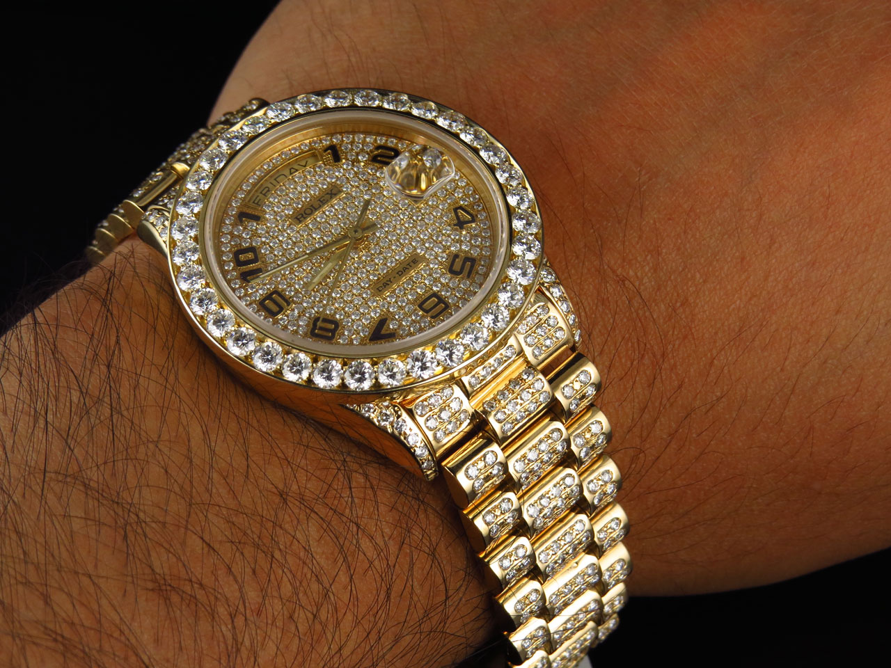 18k yellow gold mens rolex presidential daydate diamond