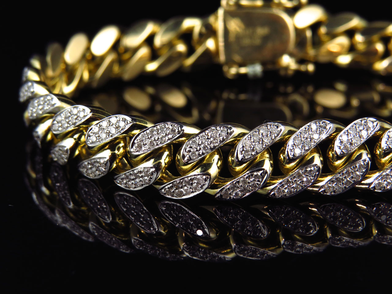Mens Solid 10k Yellow Gold Miami Curb Cuban Link Diamond Bracelet 10mm 5 0 Ct