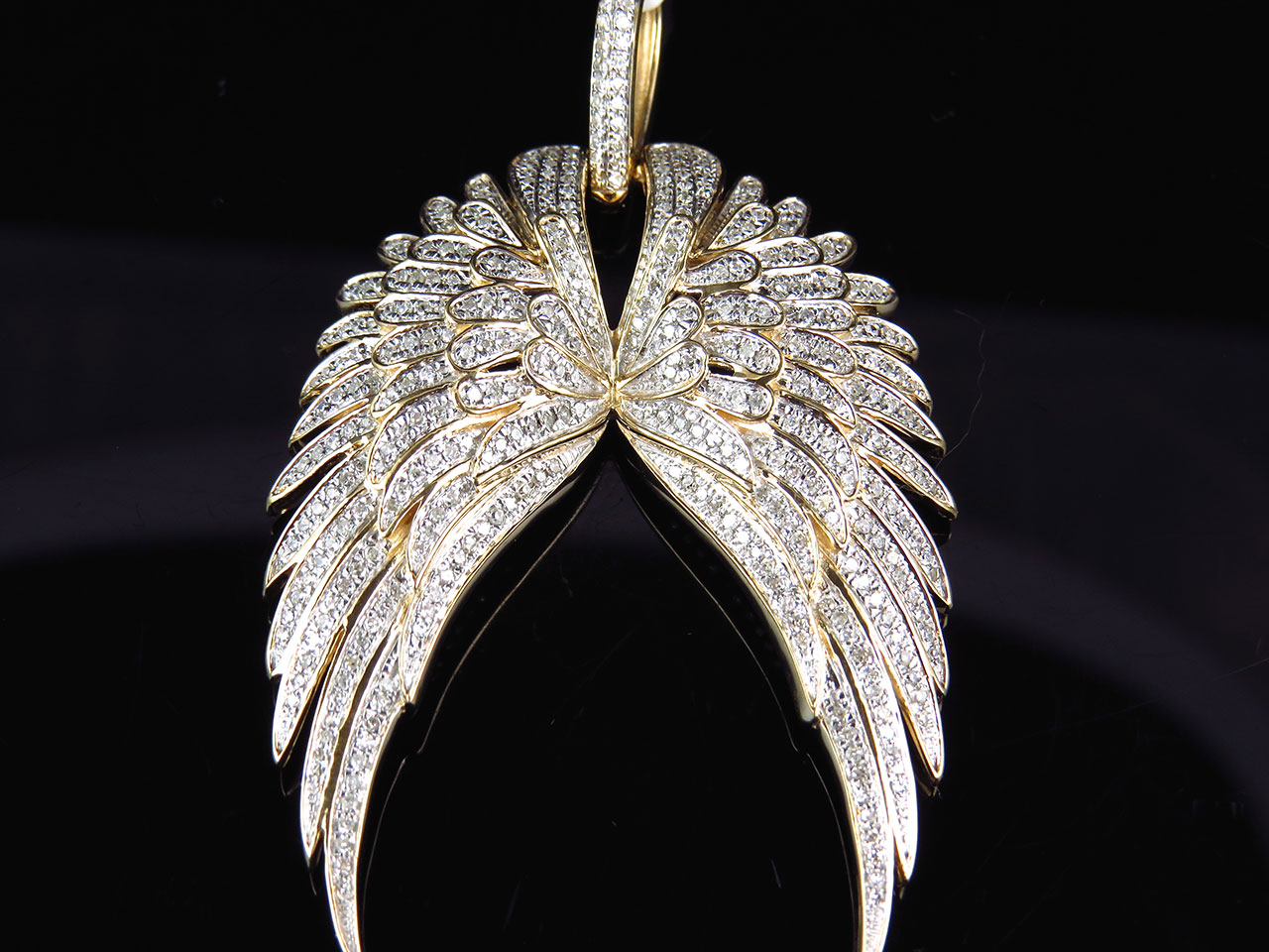 10k Yellow Gold Genuine Diamond Floral Angel Wings Pendant