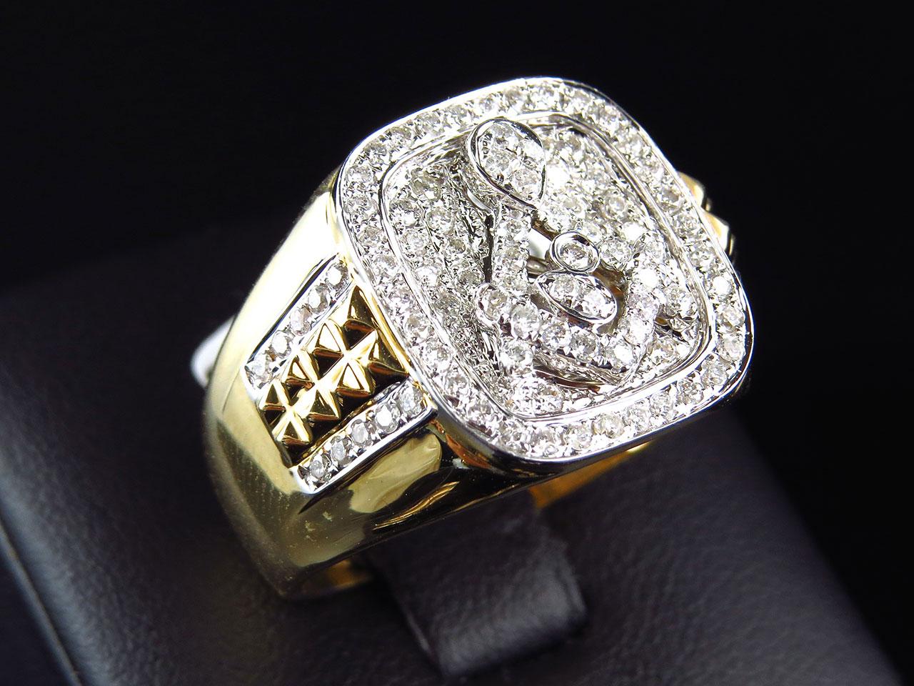 14k Yellow Gold Mens XL Round Diamond Masonic Logo Fashion Pinky Ring 1 15 C