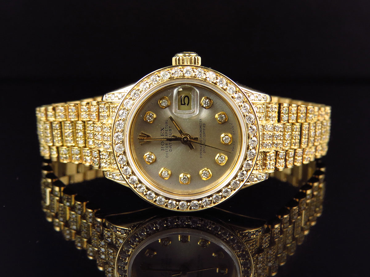 img golden rolex itm gold yellow president mm watch ladies datejust excellent diamond