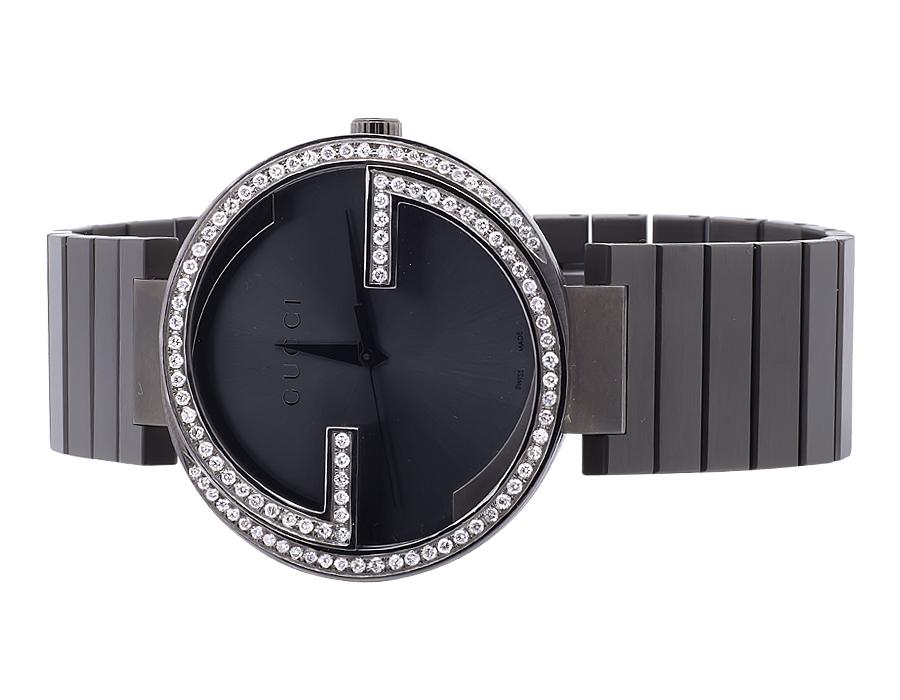 12d78d670c0 Mens Gucci Interlocking Black PVD Stainless Steel Diamond Watch YA133210  2.5 Ct