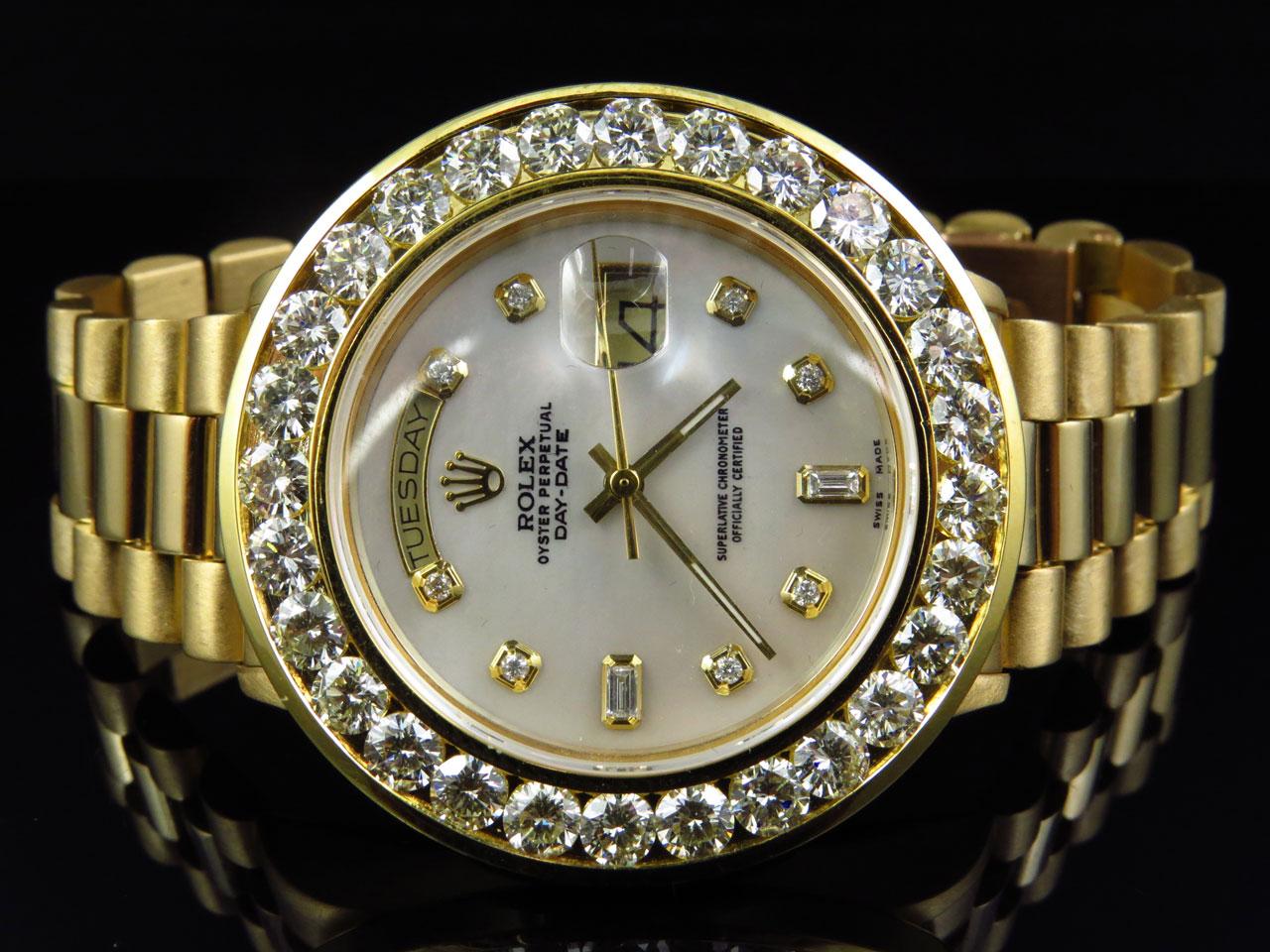 18k yellow gold mens large diamond solid rolex president day date 18k yellow gold mens large diamond solid rolex president day date diamond watch