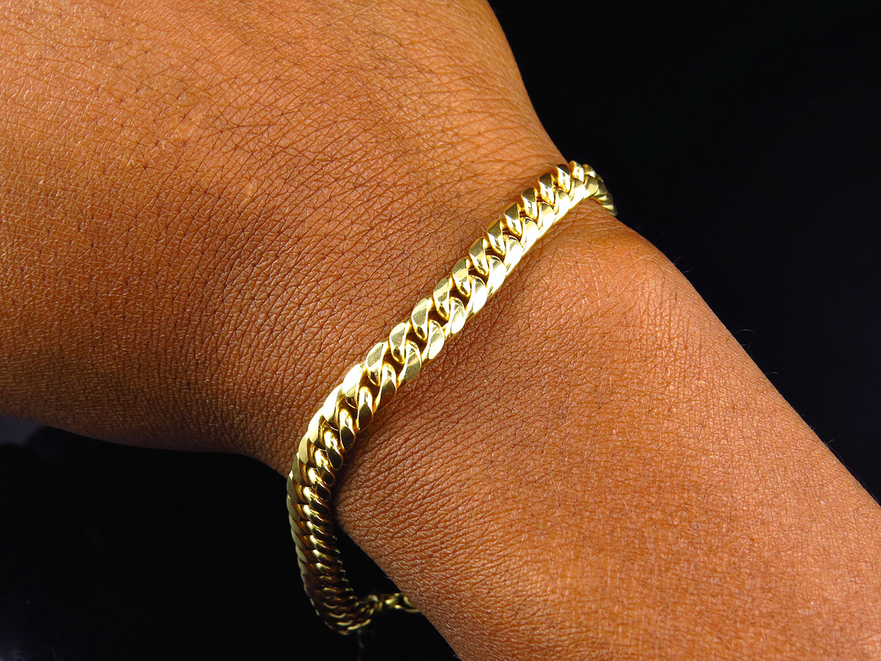 New Mens 10k Yellow Gold Handmade Hollow Miami Cuban Link Bracelet 6mm 8 686907252225 Ebay