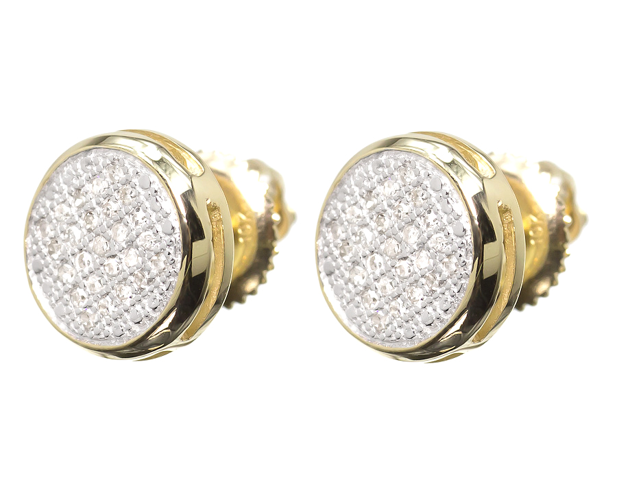 10k Yellow Gold Mens La s Round Diamond Pave 9mm Bezel Studs