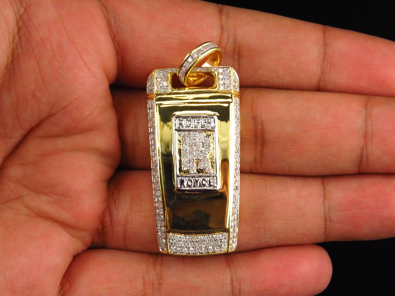 Mens solid 10k yellow gold rolls royce key diamond pendant 175 in mens solid 10k yellow gold rolls royce key diamond pendant 175 in charm 15 ct aloadofball Choice Image