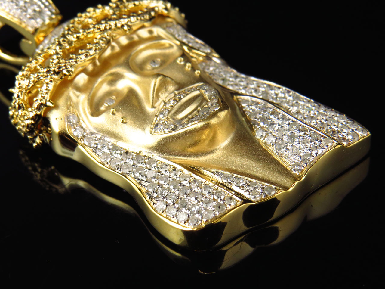 9fa15efb1b3d Mens Solid Yellow Gold Genuine Diamond Matte Jesus Piece Pendant 2 Inch (2  Ct)