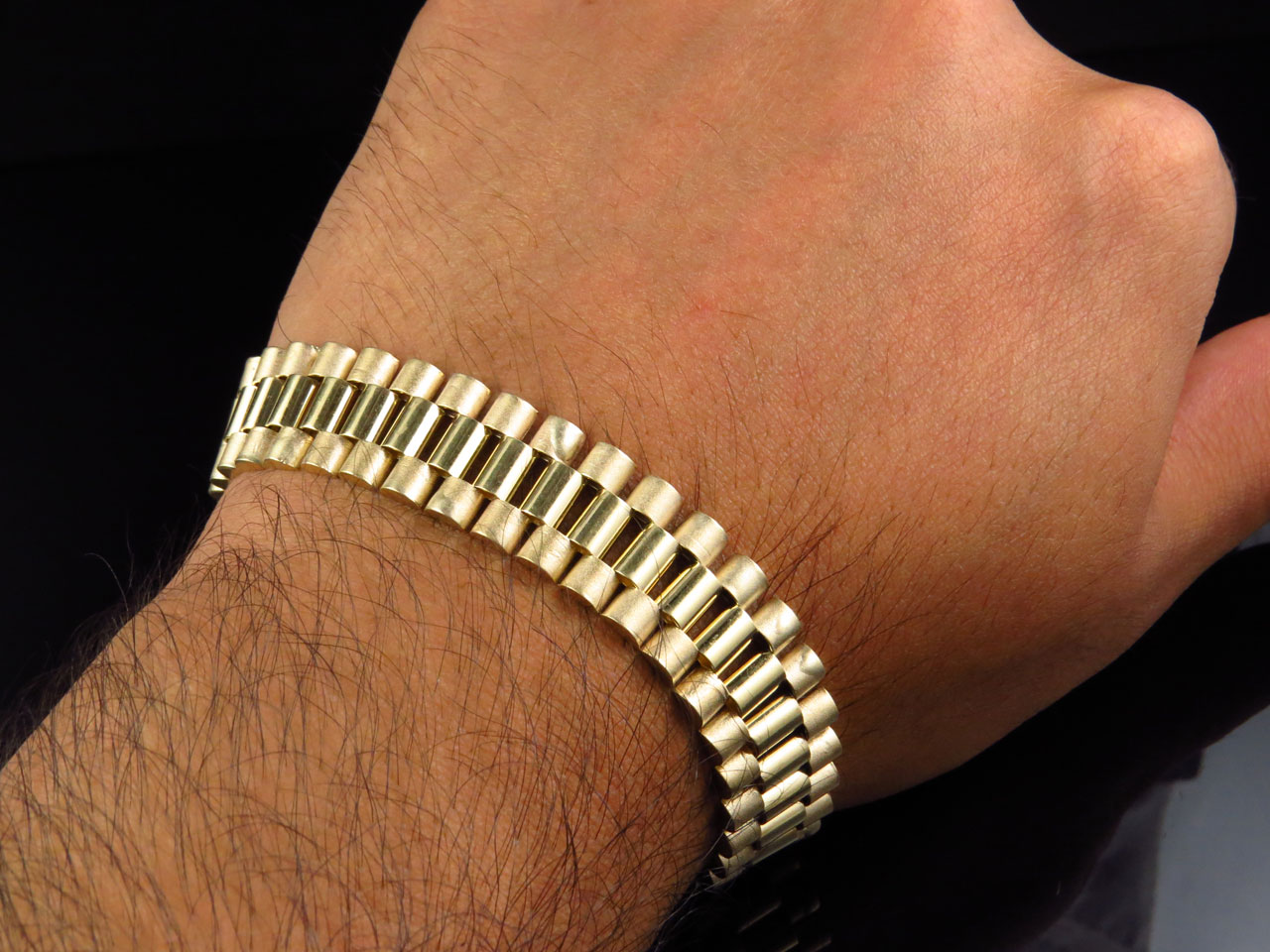 Mens 10k Yellow Gold Solid Link Designer 8 Inch Bracelet 14 Mm