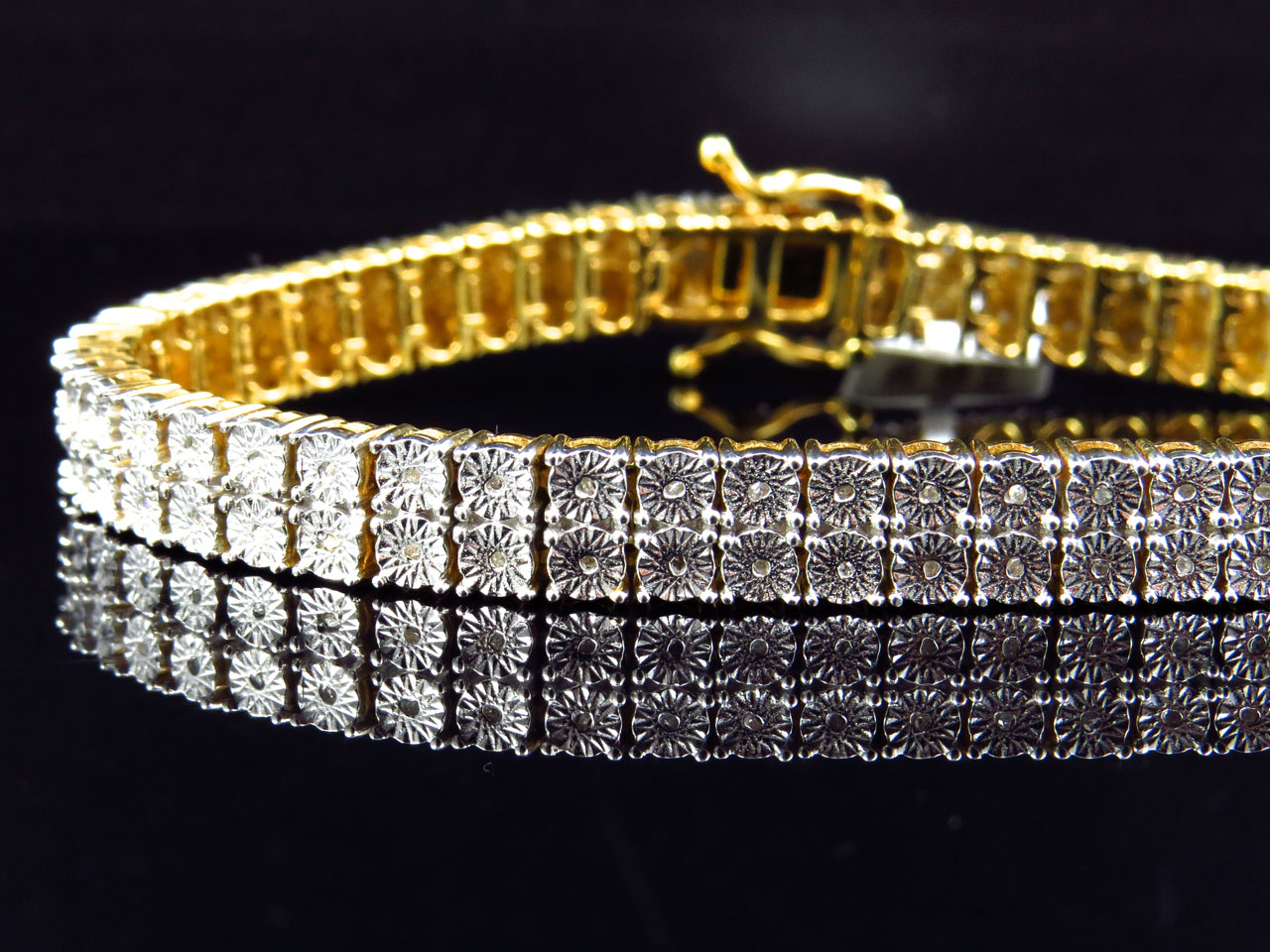 Mens Las Yellow Gold Finish Round Cut Real 2 Row 7 Mm Diamond Bracelet 8 Inch