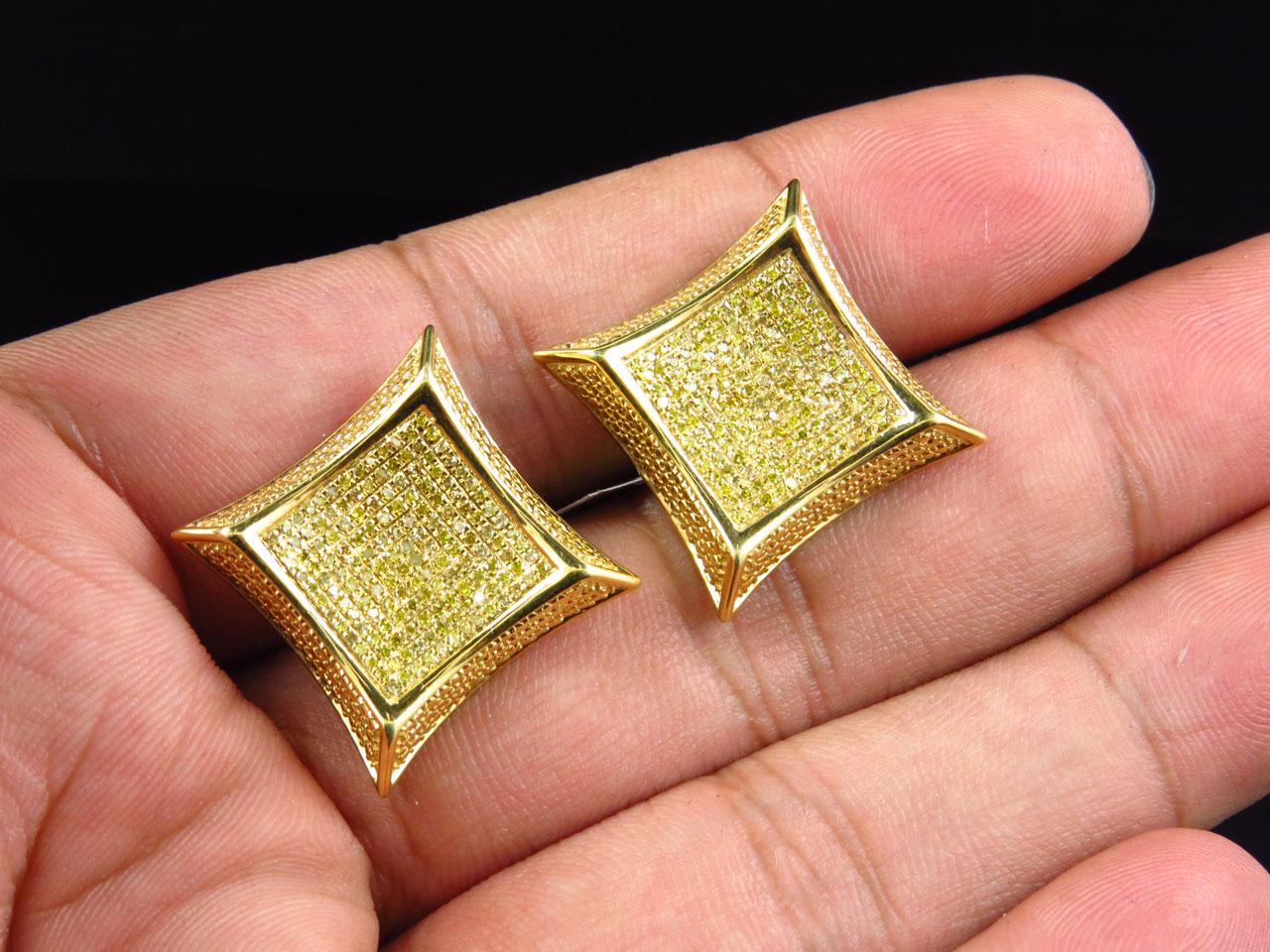 Mens Las 10k Yellow Gold Square Kite 20mm Diamond Pave Stud Earrings 1 20 Ct