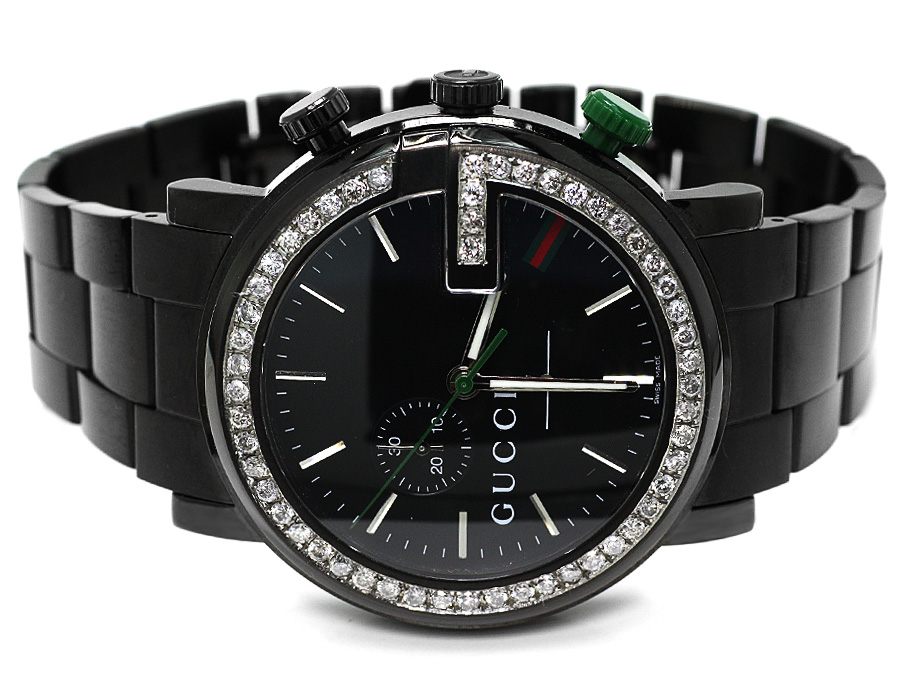 eb9c804679c New Custom Mens 101 G Black PVD Real 44 MM Diamond Gucci Ya101331 Watch 3.5  Ct