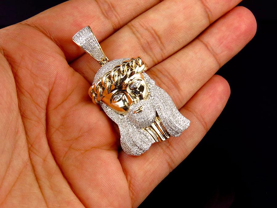 10k yellow gold mini jesus face piece cuban link crown diamond 10k yellow gold mini jesus face piece cuban link crown diamond pendant 2 125ct aloadofball Choice Image