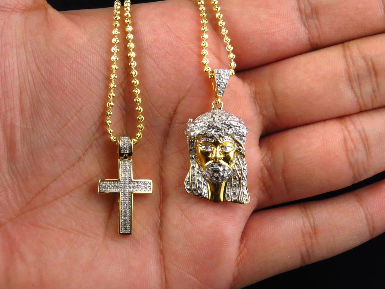 Genuine Diamond White Gold Finish Mini Micro Jesus Pendant and Cross Set .83 Ct