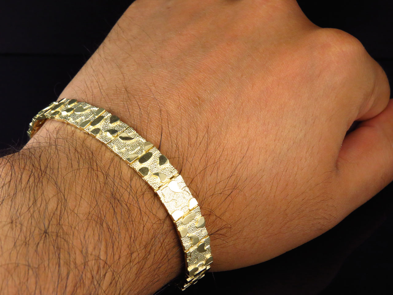 inch bangles bangle one yellow bracelet bracelets cuban diamond cut lg mens gold sided