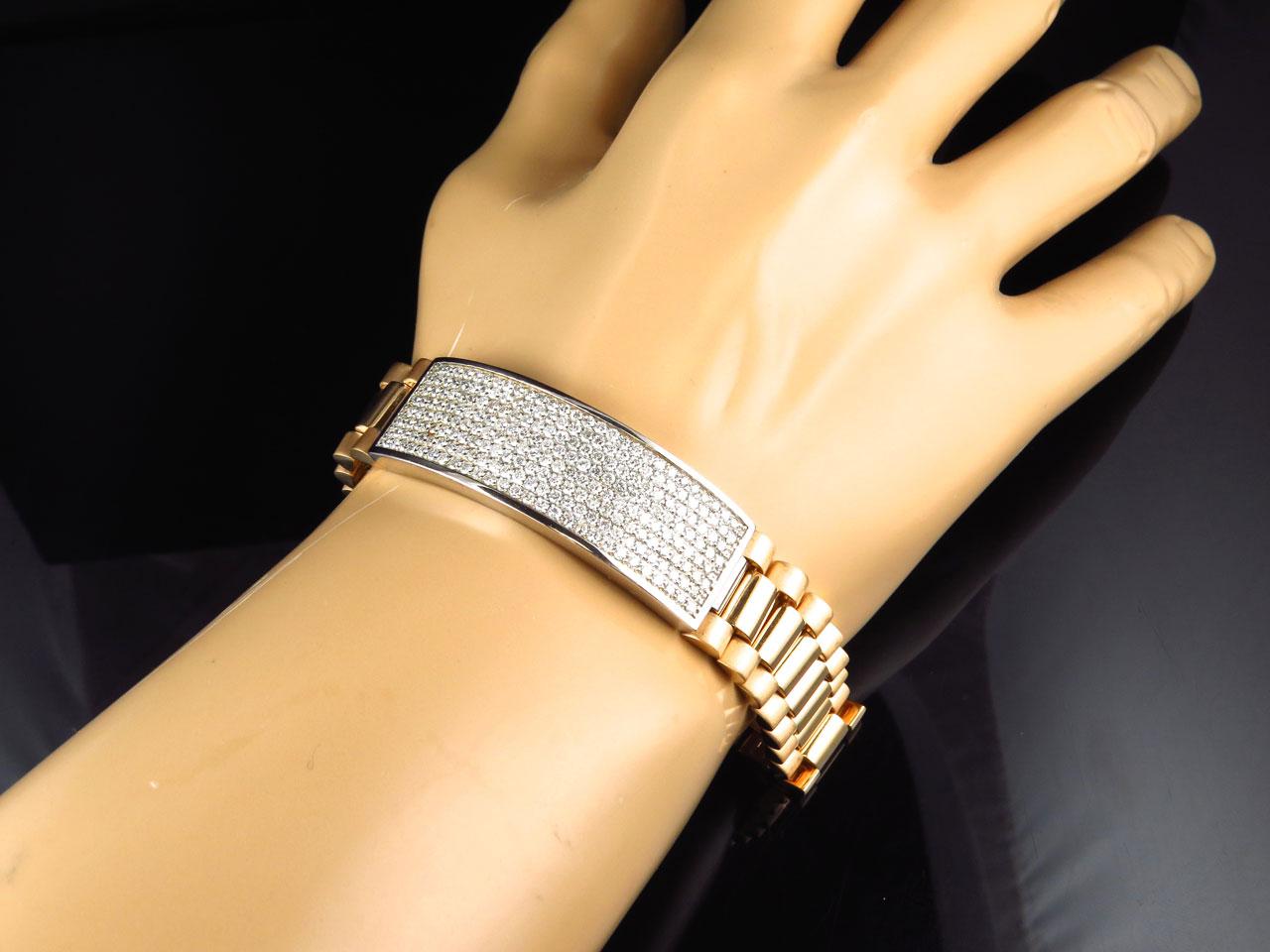 Mens Pave 18k Yellow Gold Genuine White 12 Mm Vs Diamond Id Bracelet 5 Ct