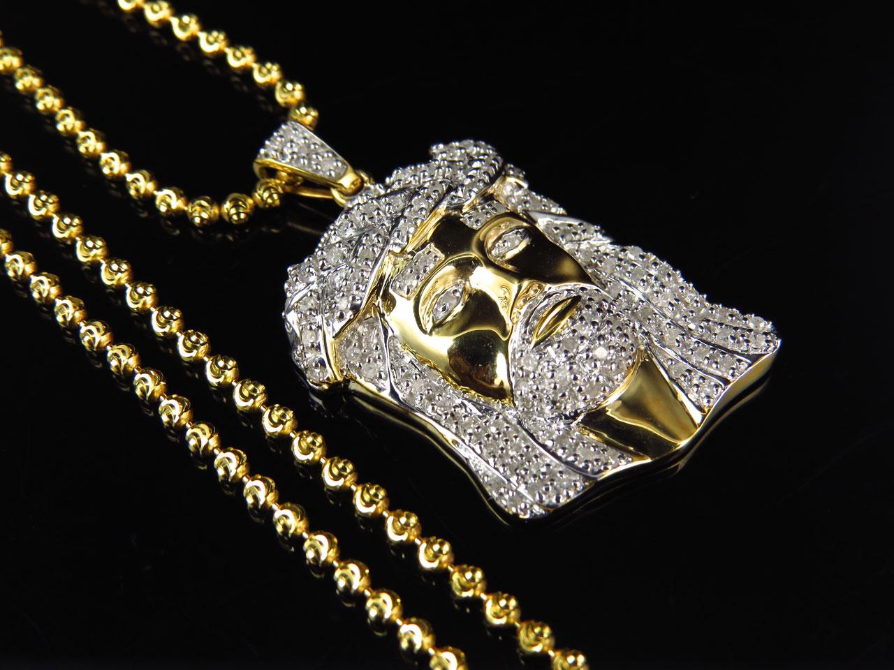 Mens 75 ct real diamond jesus head pendant in yellow gold finish mens 75 ct real diamond jesus head pendant in yellow gold finish with chain aloadofball Gallery