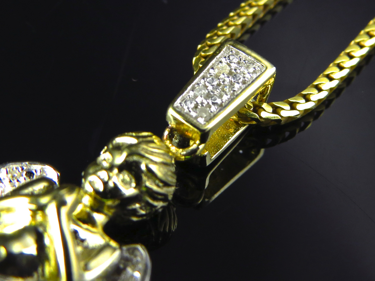 Yellow Gold Finish Genuine Diamond 3D Angel Pendant Charm .10Ct And Franco Chain