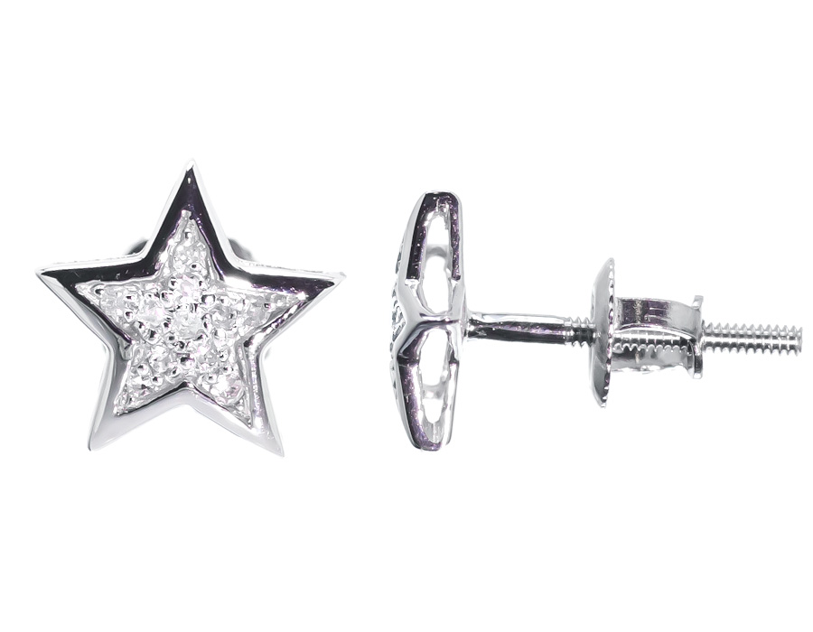 10k White Gold Mens Las 7mm Round Genuine Diamond Star Stud Earrings 1 20ct