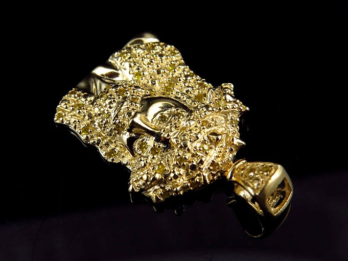 Men/'s 10k Yellow Gold Jesus Face Piece Canary Diamonds 1 Inch Pendant 0.25ct