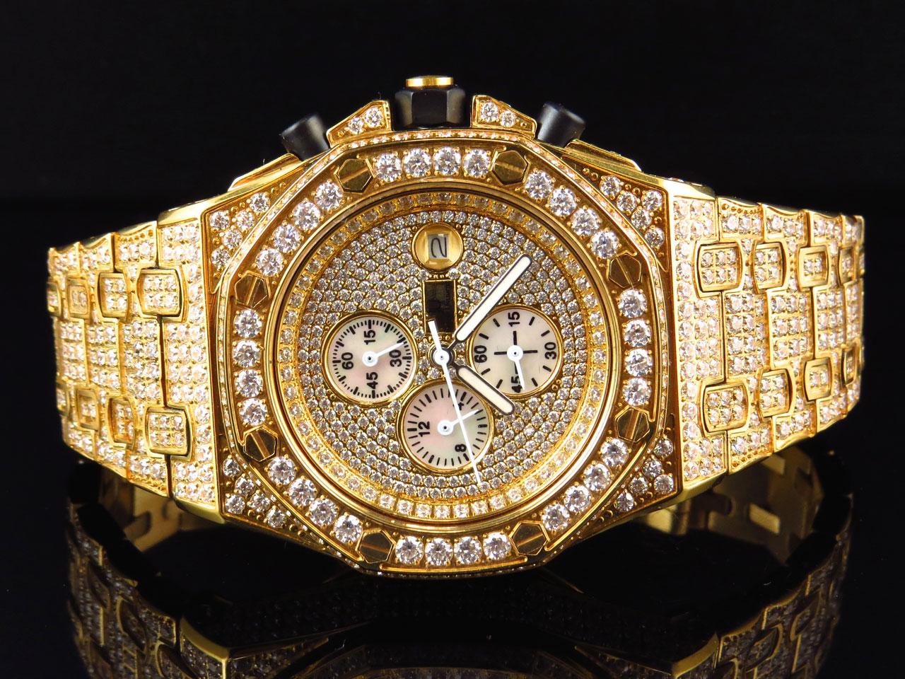 Mens Jewelry Unlimited Jojino Joe Rodeo Gold Simulated Diamond Watch 43mm  Ap03