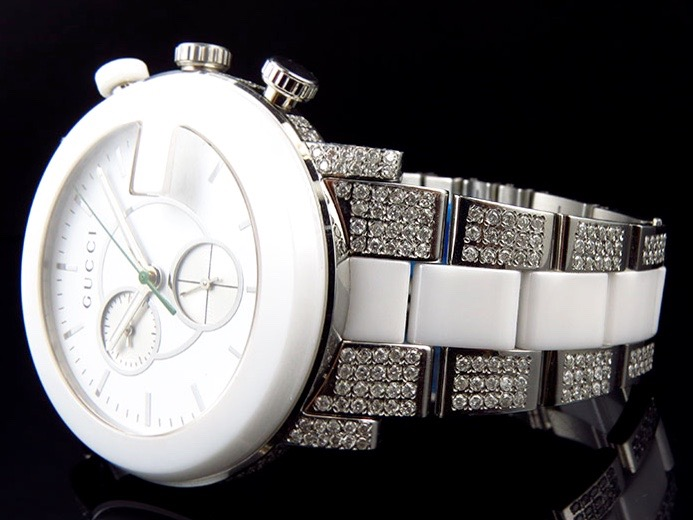 e6490f43ea5 New Custom Mens White Ceramic PVD G 101 Gucci YA101345 44 MM Diamond Watch  6.5Ct