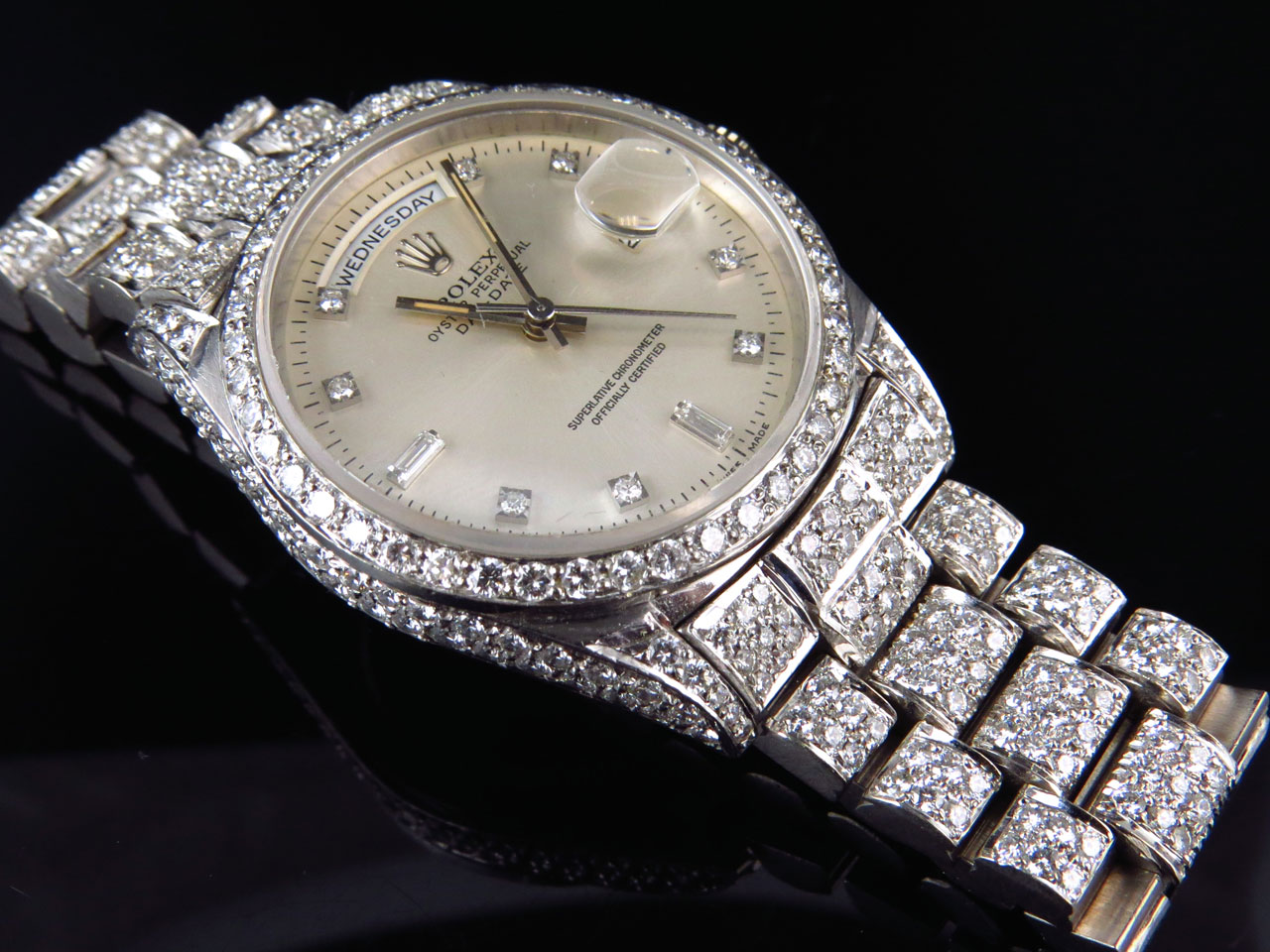 18k White Gold Mens Rolex Presidential Day-Date Diamond ...